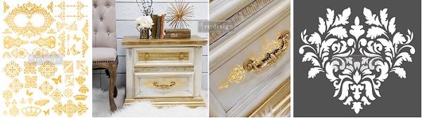 Prima Redesign Gold Foil and 3D Stencils